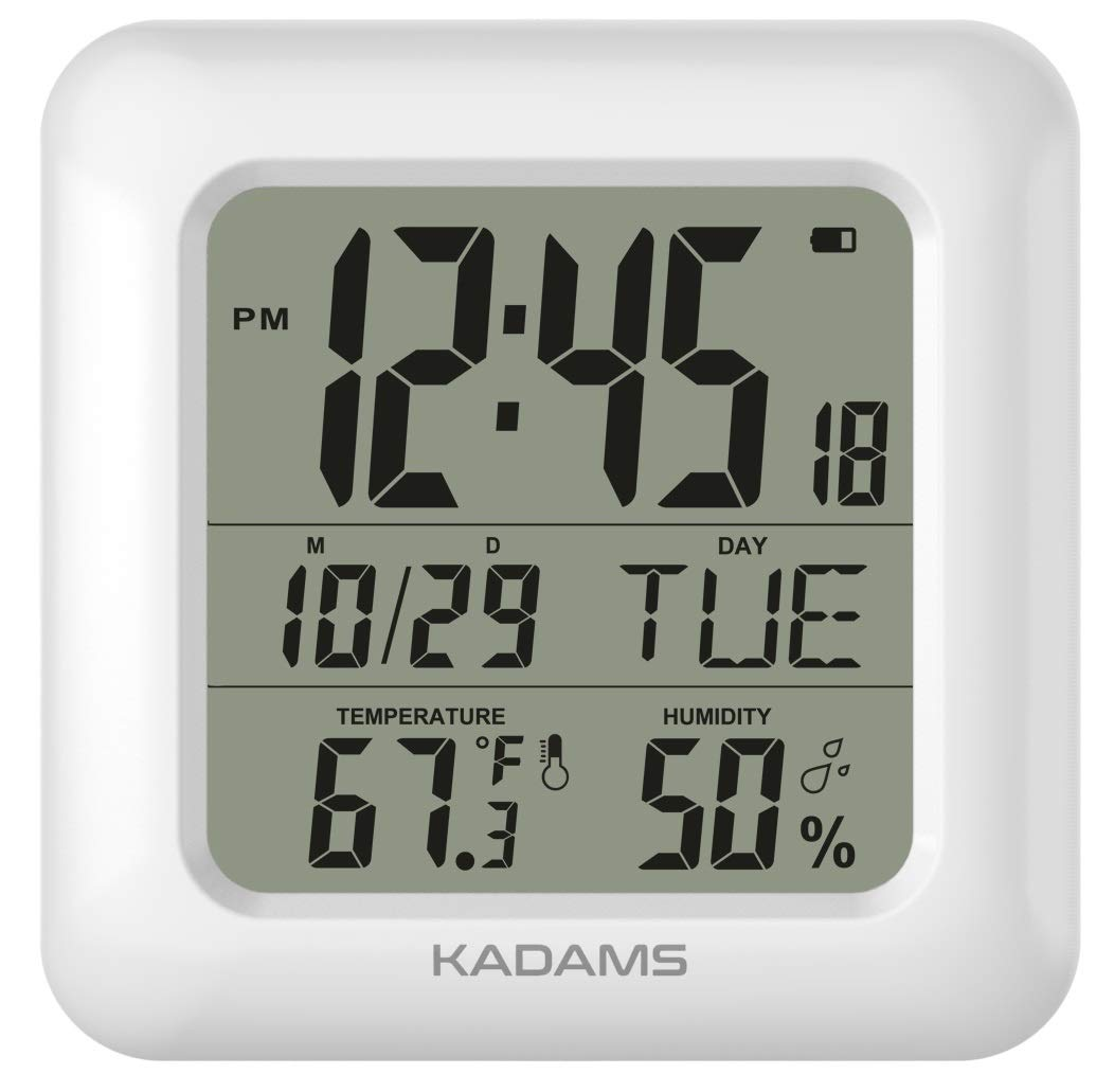 KADAMS Large Digital Bathroom Shower Wall Clock, Waterproof for Water Spray, Temperature Humidity, Moisture Proof, Water Resistant, Calendar Month Date Day, Suction Cups Hole Stand Rope Clock [White] by KADAMS