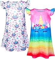 Sylfairy 2pcs Girls Nightgowns, Unicorn Nightgown Princess Pajama Dresses for Girls Sleepwear Nightie