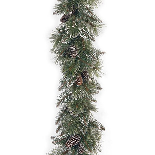 National Tree 6ft by 10in Glittery Bristle Pine Garland + Cones (Large Image)