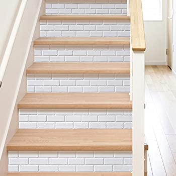 3D Stair Sticker DIY Wall Mural Decorative - White Brick Pattern -Removable Self Adhesive Decor -Stair Risers Sticker 7''W x 39''L (Set of 6)
