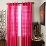 Bedford Home Maggie Grommet Single Curtain Panel, 84-Inch, Fuchsia For Sale