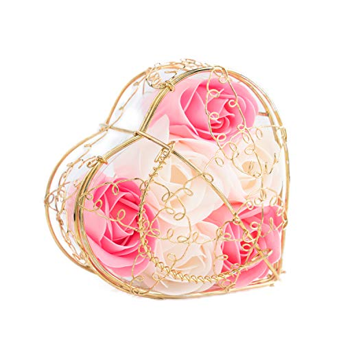 6PCS Floral Scented Soap Rose Flower Petal Bath Body Soap Flower with Gold Heart Metal Box, Gift for Valentine's Day/Mother's Day ()