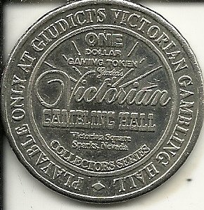 $1 victorian gambling hall casino token coin sparks nevada obsolete