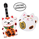 """DIYJewelryDepot 1 Pc. Japanese Fortune Lucky Cat Maneki-Neko """"Beckoning Cat"""" PVC Large Size Suitcase Luggage Name ID Tag Cute for Travel or Schools"""