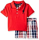 U.S. Polo Assn.. - Juego de Playera y Pantalones Cortos para niño, White Stripes with Black/Multi Plaid, 3 Años