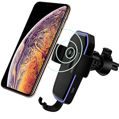 YOFUNTLE Gravity Clamping Qi Fast Wireless Car Charger Mount,Air Vent Phone Holder Charging Mount Bracket Compatible for iPhone Xs/Xs Max/XR/8/8 Plus,Samsung Galaxy S10/S10+/S10e/S9/S9+/S8/S8+/Note 9
