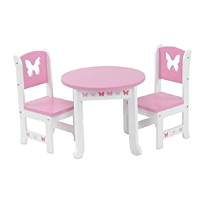 18 Inch Doll Furniture | Lovely Pink and White Table and 2 Chair Dining Set | Fits American Girl Dolls (Butterfly Theme)