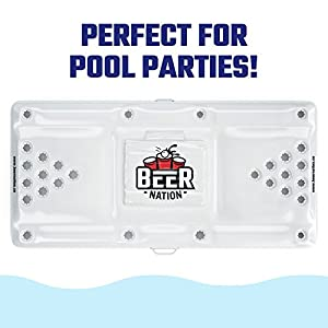 Beer Nation Inflatable Beer Pong Table with Cooler – Pool Beer Pong Pool Party Game – Floating Pong Table