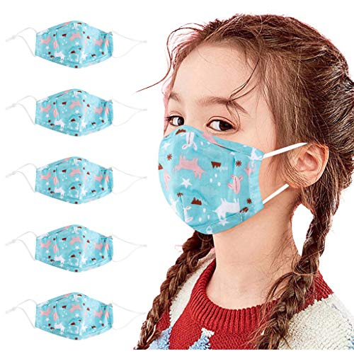TBNOONE Kids Face Covering Cartoon Print Face Bandana Washable Face Covering