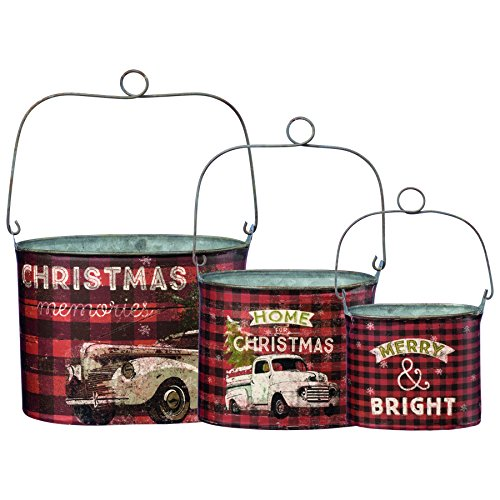 Primitives by Kathy Rustic Christmas 3-Piece Tin Bucket Set, Set of 3, -