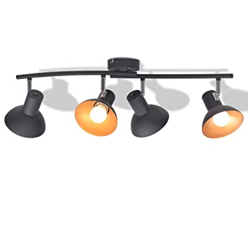 ROMELAREU Lámpara de Techo para 4 Bombillas E27 Negra y ...