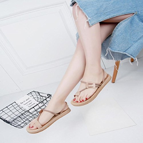 Fheaven Kvinnor Flip Flops Sandaler 2 I 1 Platta Skor Remmar Bohemia Tillfälliga Strand Sandaler Tofflor Skor Khaki