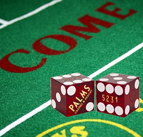 Cyber-Deals Craps Bundle Set: Las Vegas Style Felt Layout + 19mm Authentic Palm's Casino Table-Played Dice (Red w/Gold Lettering) -