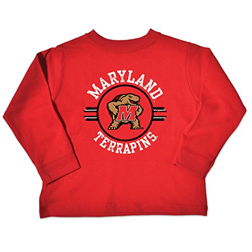 College Kids NCAA Maryland Terrapins Toddler Long Sleeve Tee, 5/6 Toddler, Red