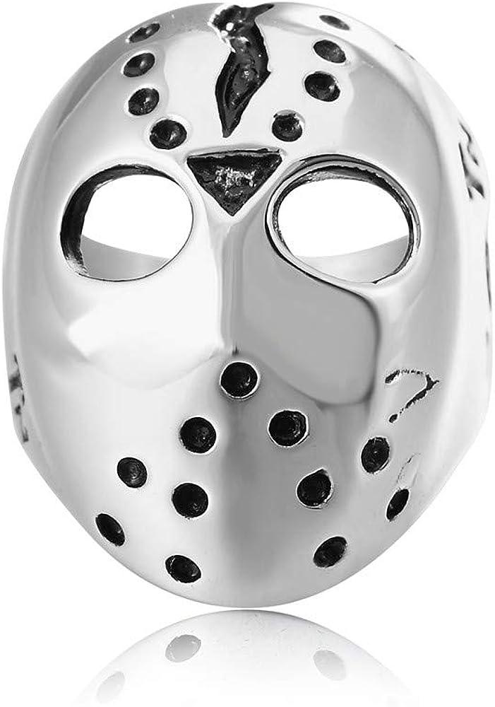 jonline24h Polished Stainless Steel Men's Ring, Halloween Jason Mask Band, Silver Black
