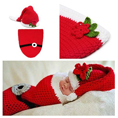 [Kalevel® Soft Handmade Crochet Knit Baby Sleeping Bag ,Baby Photo Props,Baby Photograph Props,Baby Photograph,Infant Newborn Cute Baby Christmas Outfits,Newborn Xmas Outfit,Christmas Costumes for Baby,Santa Claus Costume for Baby (0-9] (Cute Santa Outfits)