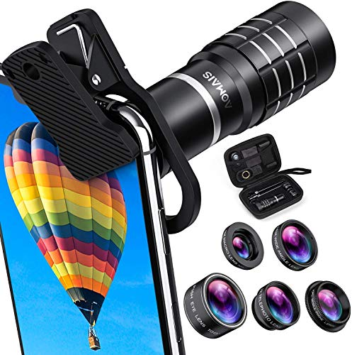 HD Cell Phone Camera Lens Kit 9 in 1, 18X Telephoto Lens, Wide Angle Lens, Macro Lens, Fisheye Lens, 2X Telephoto Lens, CPL in Travel Case, Compatible with iPhone Max X XS 8 7 6 Plus, Samsung  More in USA
