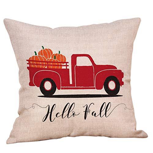 SHL Happy Fall Yall Truck Pumpkin Throw Pillow Case Cushion Cover 18 x 18 inch Cotton Linen Halloween Thanksgiving Home Decor (A)