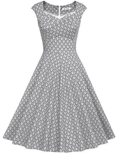 MUXXN Women's 1950s Retro Vintage Cap Sleeve Party Swing Dress(XL,Printed Black)