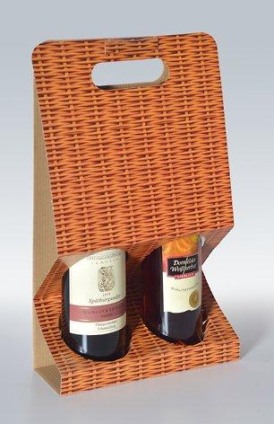 10 Stück 2er-X-Line Tragekarton Korbgeflecht, Tragetasche, Weinkarton, Flaschenkarton, Weinverpackung weinkarton24.de