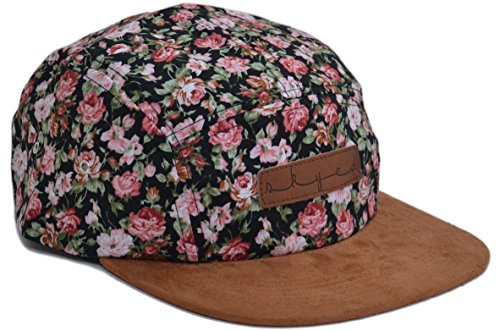 Skyed Apparel 5 Panel Blossomed 2 Camper Cap Hat Collection with Genuine Leather ()
