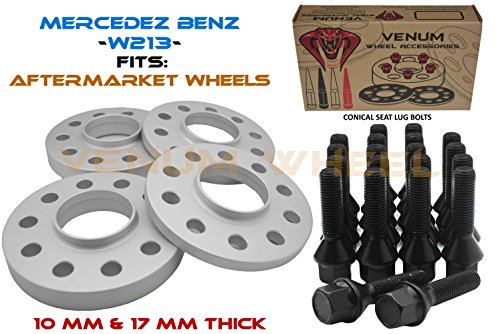 4 Pc Mercedes Benz Grey Hub Centric Wheel Spacers 10mm & 17mm Thick Staggered Kit + Black Conical Seat 14x1.5 Thread Pitch Lug Bolts - Bolt On Kit (Aftermarket Wheels) Fits E Class Models ()