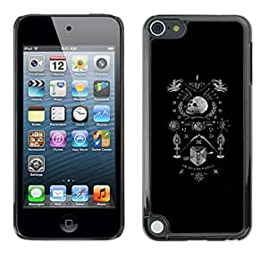Shell-Star Arte & diseño plástico duro Fundas Cover Cubre Hard Case Cover para Apple iPod Touch 5 ( Black White Coat Of Arms Skull Death )