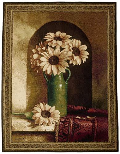 Persian Wool Vase - Fine Art Tapestries Sunflowers with Persian Rug Hand Finished European Style Jacquard Woven Wall Tapestry USA Size 53x40