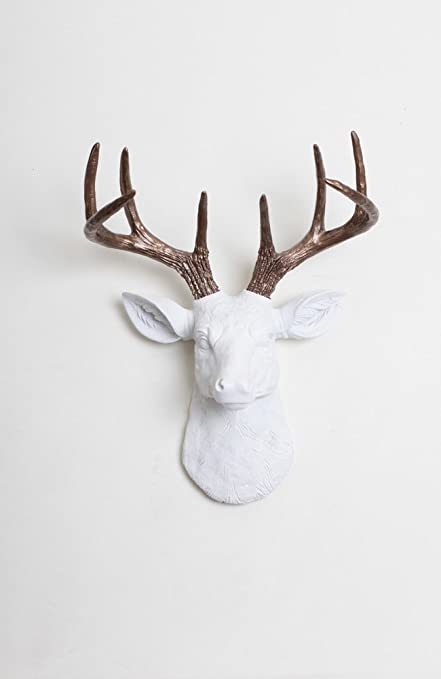 Mini White Faux Deer Head Wall Mount With Bronze Antlers   The Mini Lydia  By White