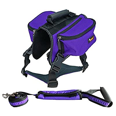 Ondoing Dog Backpack Medium Large Dogs Harness Leash With Removable Adjustable Self Saddle Bag Carrier Hound Bag for Travelling Hiking Camping