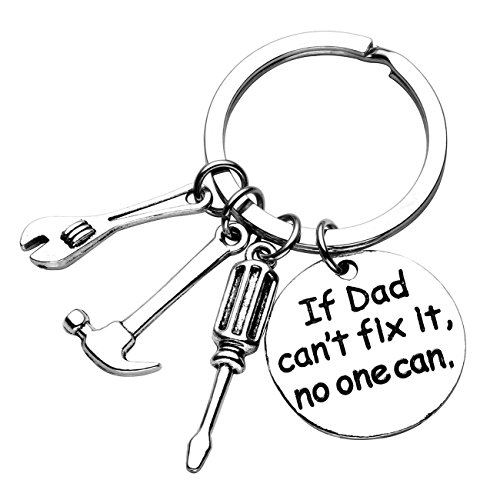 XYBAGS Father's Day Gift - If Dad Can't Fix It No One Can - Keychain with Screwdriver Wrench Hammer Gifts for Dad
