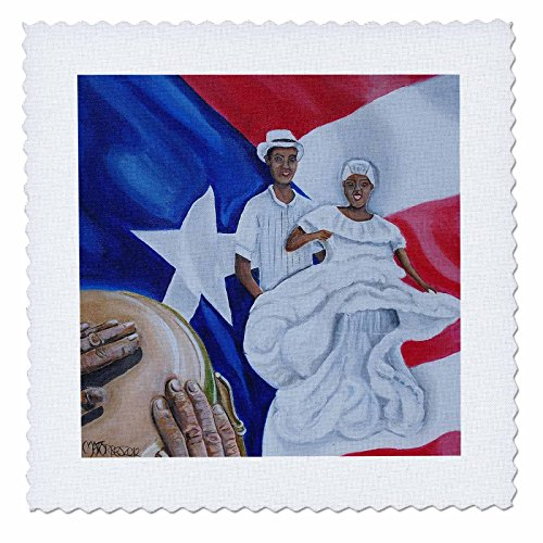 Melissa A. Torres Art Puerto Rico - A couple of Bomba dancers, a conga, and Puerto Rican flag as background - 12x12 inch quilt square (qs_160389_4)