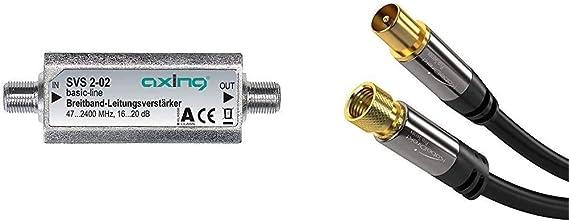 Axing SVS 2-02 - Amplificador de señal para Equipos por satélite + Kabeldirekt - Cable TV Sat 75 Ohm, HDTV, Conector FA Conector Coaxial, Dvb-T2, ...