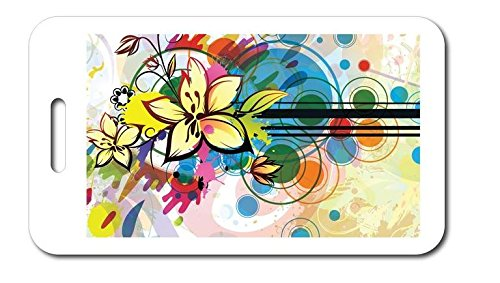 68a647c06e75 Amazon.com | Design Luggage Tag - Abstract Flowers Paint Splatter ...