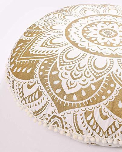 Popular Handicrafts Large Hippie Mandala Floor Pillow Cover - Cushion Cover - Pouf Cover Round Bohemian Yoga Decor Floor Cushion Case- 32 Gold
