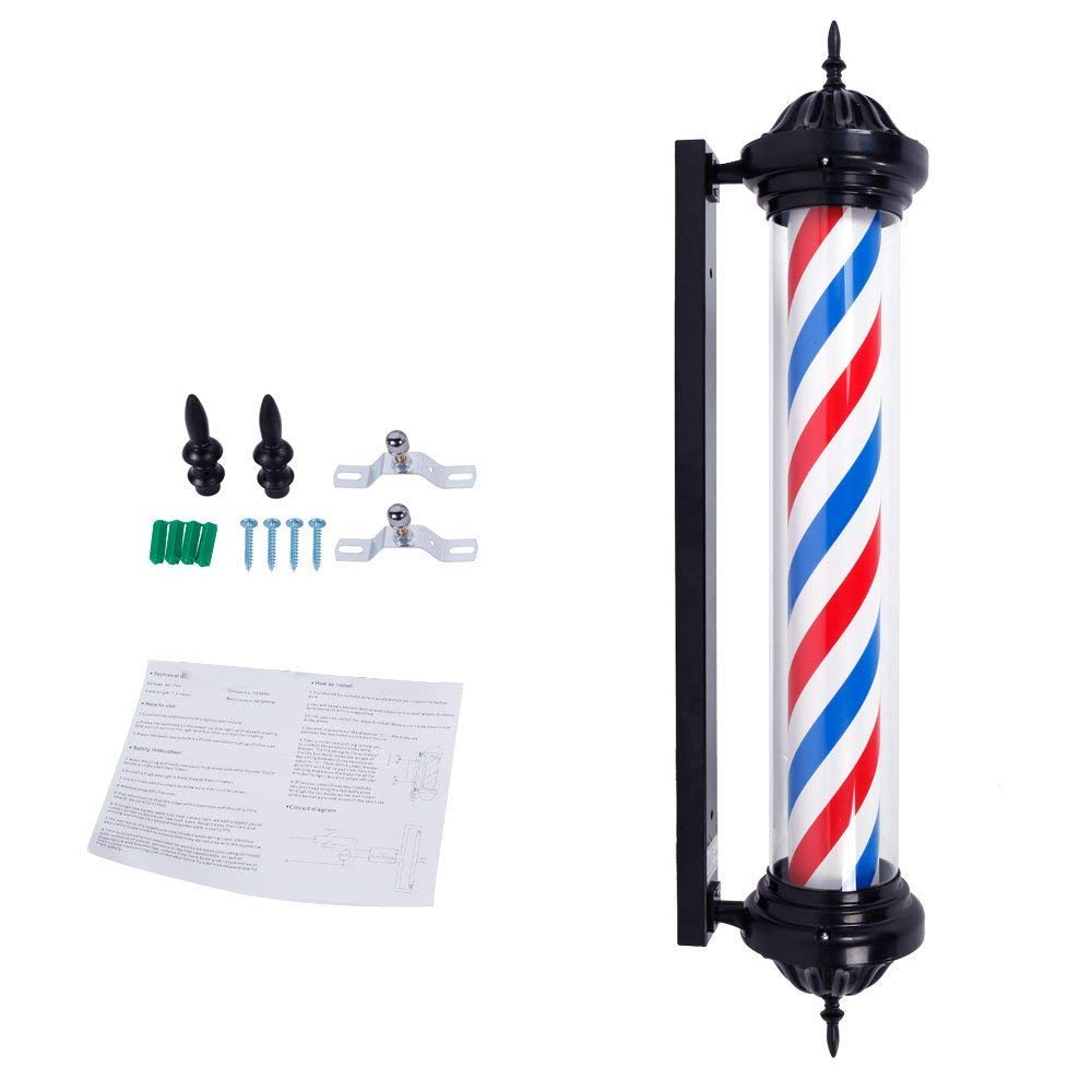 Mefeir 41'' Barber Pole LED Light Rome Style,Hair Salon Barber Shop Open Business Sign,Rotating Spinning Red White Blue,LED Strips Energy Saving