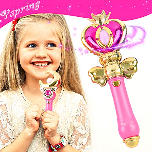 Yspring】 Sailor Moon Magic Wand Toys Cute Music + Flash Light Transfiguration Toy Anime Cosplay Props Heart Wand for Baby Girls(Pink)
