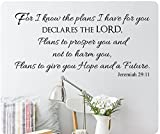 48″ For I Know The Plans I Have For You Declares The Lord, Plans to Prosper You and Not To Harm You, Plans To Give You Hope And A Future Jeremiah 29:11 Wall Decal Sticker Art Mural Home Décor Quote Lettering Christian Verse Bible Scripture