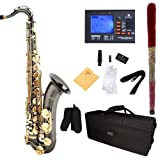 Mendini B-Flat Tenor Saxophone, Black Nickel Plated with Gold Keys and Tuner, Case - MTS-BNG+92D