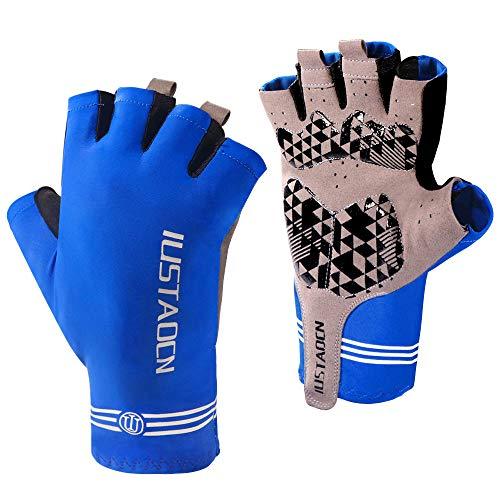 IUSTAOCN Fingerless Fishing Gloves Men and Women UV Protection Sun Gloves - UPF50+ Outdoor Gloves for Biking Hiking Kayaking Rowing Sailing (Large)