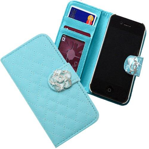 Xtra-Funky Exclusivo del Faux de caja monedero de la cartera de cuero del tirón con incrustado cristalina Rose en Correa Cierre Magnético para iPhone 6 Plus (5.5) - Azul Azul