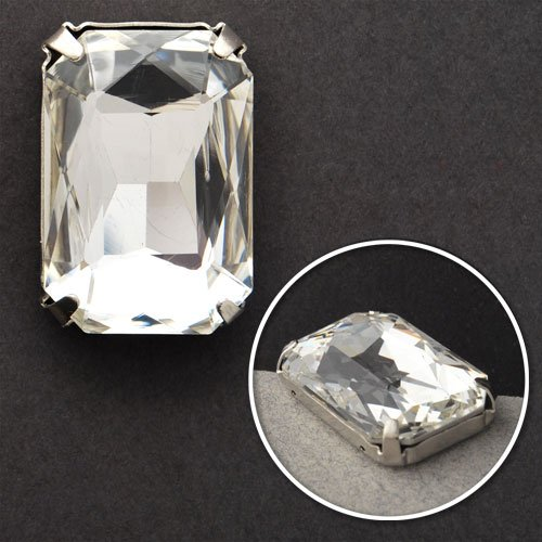 Faceted Metal Rhinestone - Rectangular Glass faceted Rhinestone with sew-on metal cup- 2PCS, 28 x 17 mm, Crystal Clear, TR-10345
