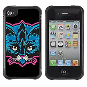 Hybrid Anti-Shock Defend Case for Apple iPhone 6 4.7 Cute Neon Cat