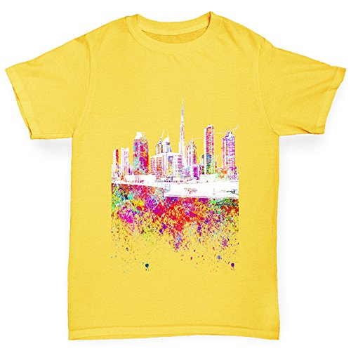 Twisted Envy Girl's Dubai Skyline Ink Splats Cotton T-Shirt, Comfortable and Soft Classic Tee with Unique Design Age 9-11 Yellow