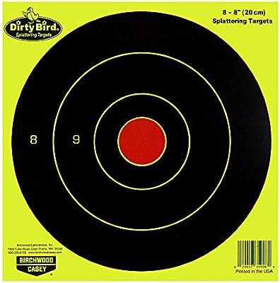 """Pkg of 16 Birchwood Casey 6/"""" Chartreuse Dirty Bird Bullseye Splattering Targets"""