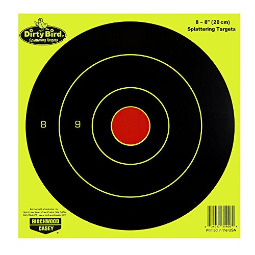 Birchwood Casey Dirty Bird Chartreuse Bull's-Eye Target (Per 50), 8-Inch Dirty Bird Splattering Targets