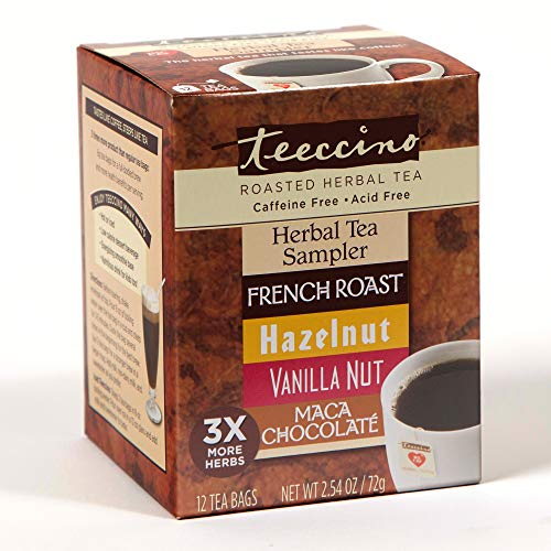 Caramel French Tea - Teeccino Chicory Roasted Herbal Tea Classic Sampler Pack (French Roast, Hazelnut, Vanilla Nut and Chocolaté), Caffeine Free, Acid Free, Coffee Substitute, Prebiotic, 12 Tea Bags