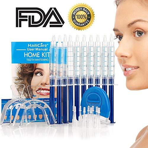 HailiCare Tooth Whitener, Teeth Whitening Gel Kit, White LED, 44% Dental Bleaching System