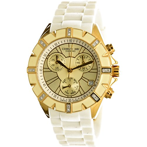 Cerruti 1881 Ladies Chronograph Watch Gold Tone with Rubber Strap Diamond CCRWDM031R244Q