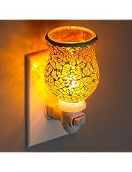 Mosaic Glass Plug-In Fragrance Wax Melt Warmers (Crackled Amber)
